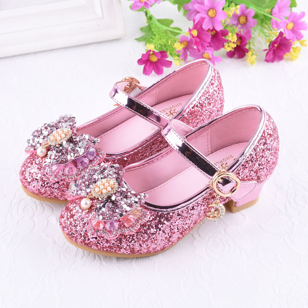 7a39b38606d930 Pearl Crystal Bling Bowknot Single Princess Shoes Infant Kids Baby Girls  Sandals Cherry Single Party Shoes