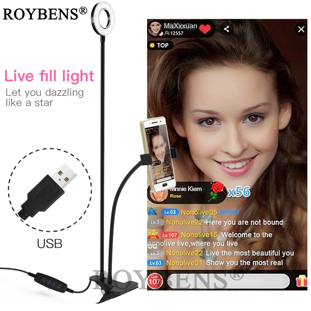 Roybens Selfie Ring Light For Live Stream With Adjustable Long <font><b>Arm</b></font> <font><b>Cell</b></font> <font><b>Phone</b></font> <font><b>Holder</b></font> Desk Clip <font><b>Holder</b></font> Lazy Bracket Desk LED Lamp