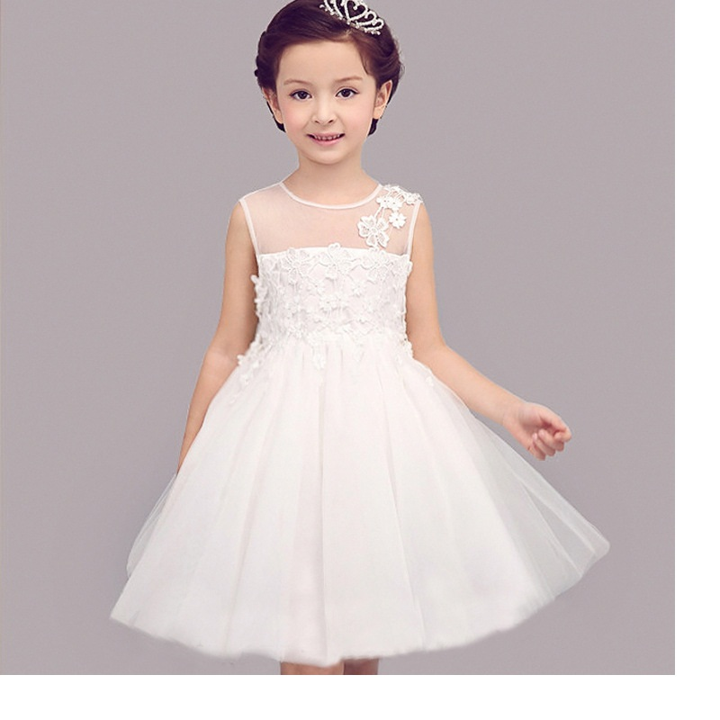 Summer children's beauty flower girl dresses wedding and party large children embroidered bow flowers gauze lace princess dress