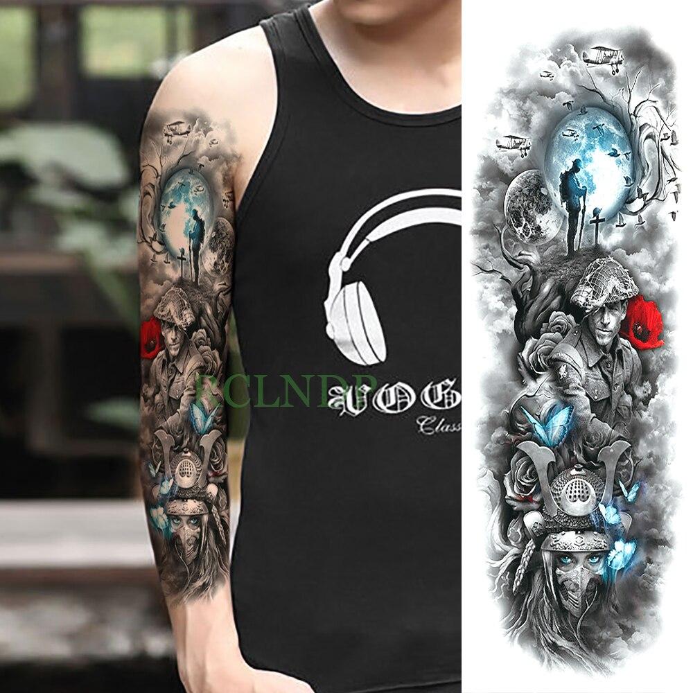 Temporary Tattoo Sticker Large Size Body Art Sketch Flower: Waterproof Temporary Tattoo Sticker Magic Warfare