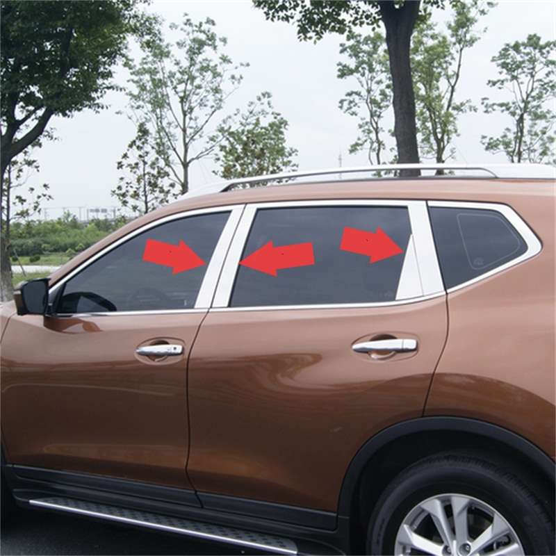 ABAIWAI Car Window Sticker Decoration For Nissan X-Trail T32 Protective Exterior Stainless Steel Auto Parts 6pcs 2014 to 2016