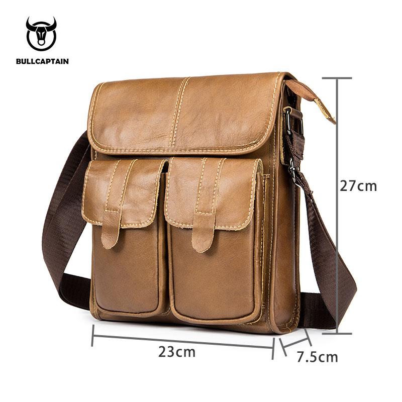 7ca43d7e8442 Купить Bullcaptain натуральная кожа сумка Для мужчин Crossbody сумки  небольшой известный Брендовая дизайнерская обувь мужской Курьерские сумки  Для мужчин .