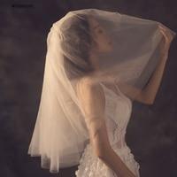 Ivory Gather Puffy Elbow Length Short Wedding Veils Women Cover Face Elegant Bridal Veils Voile De Mariee Accesorios De Novia