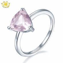 f9cb40b0084c Anillo de compromiso Hutang piedra preciosa Natural cuarzo rosa sólido Plata  de Ley 925 joyería de moda fina Navidad presenta ta.