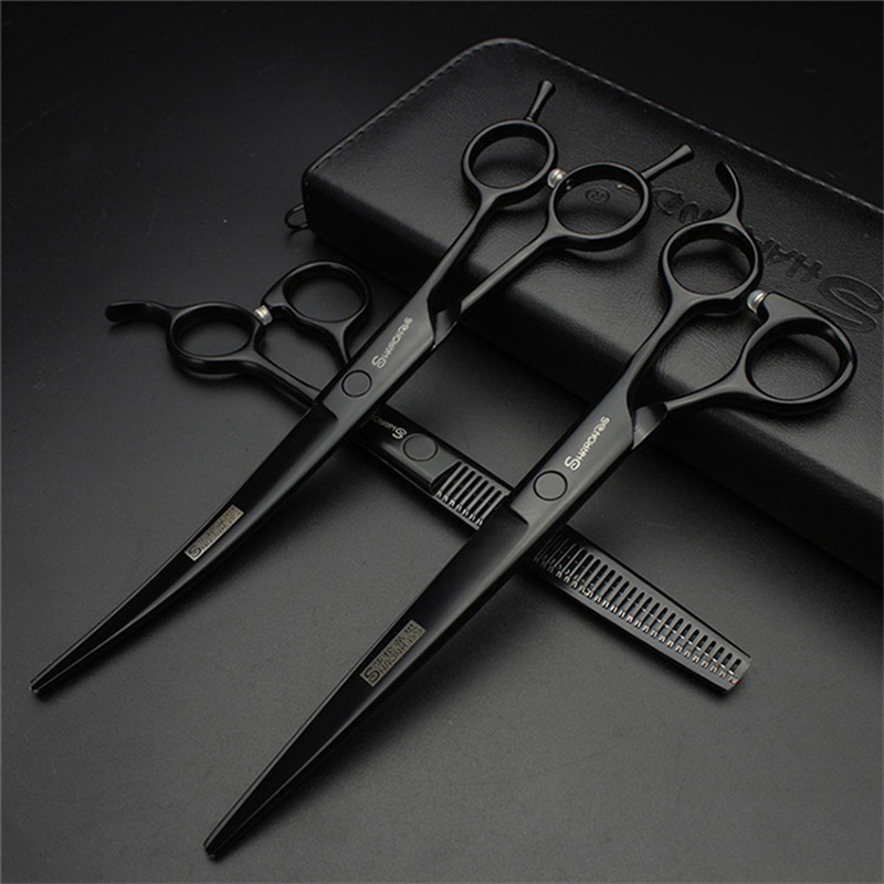 DOG grooming scissors set curved 7 inches professional 7 5 inch cat pet scissors dog grooming