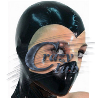 Crazy club_ Adult ninja sexy latex masks fetish latex hoods Handmade Natural Zentai Rubber hood Free Shipping Fast Delivery Sale