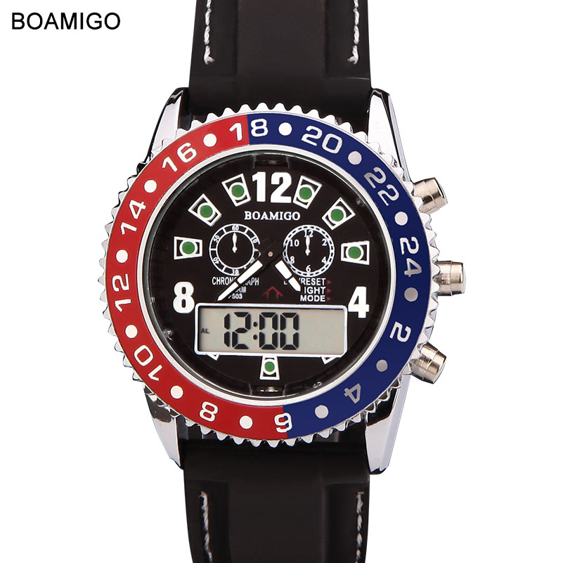 Watches Men Luxury Brand BOAMIGO Military Army Sports Watches Dual Time Quartz Digital Watch Rubber Band Wristwatches F503