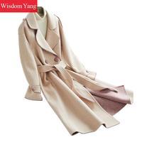 Elegant Winter Warm Coat Pink White Sheep Wool Alpaca Coats Womens Korean Long Slim Oversize Woolen Ladies Overcoat Outerwear