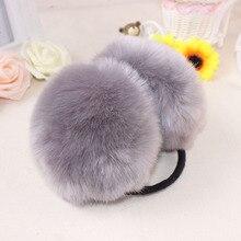 Fashion Lovely Rabbit Fur Women Winter Earmuffs Gray Ear Warmers Winter Earmuffs Warm Solid Winter Earmuffs For Women Girls