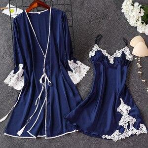 Image 4 - 2019 Indoor Clothing Women Sleepwear Sexy Femme Robe Gown Set Sleep Lounge Ladies Nightwear Bathrobe Nightdress With Chest Pads