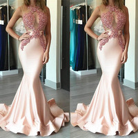 Pink Appliques Halter Satin Prom Gowns Gorgeous Mermaid Sleeveless Formal Party Dress Floor Length Ruffles Gowns Custom Made