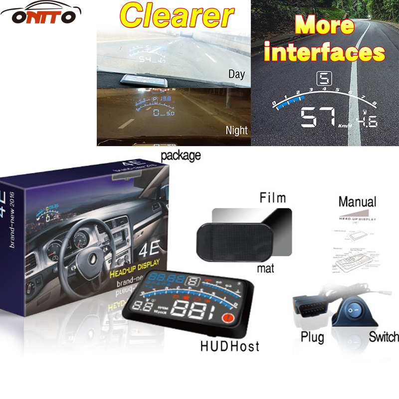 Hot 4E car hud Auto 5.5 HUD Head Up Display Windscreen Projector OBD II EUOBD Car Data Diagnosis for audi volvo bmw honda bigbigroad car hud obd 2 euobd windscreen projector speed head up display for kia niro mohave borrego k9 k900 kx3 k7 kx7 cadenza