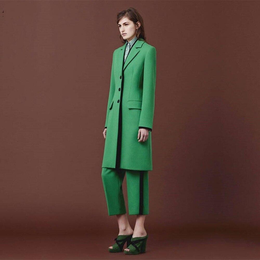 Пользовательские зеленый Для женщин брючный костюм осенние Элегантные Формальные Офис едином Стиль тонкий пиджак женский длинная куртка дамы брюк комплект W69