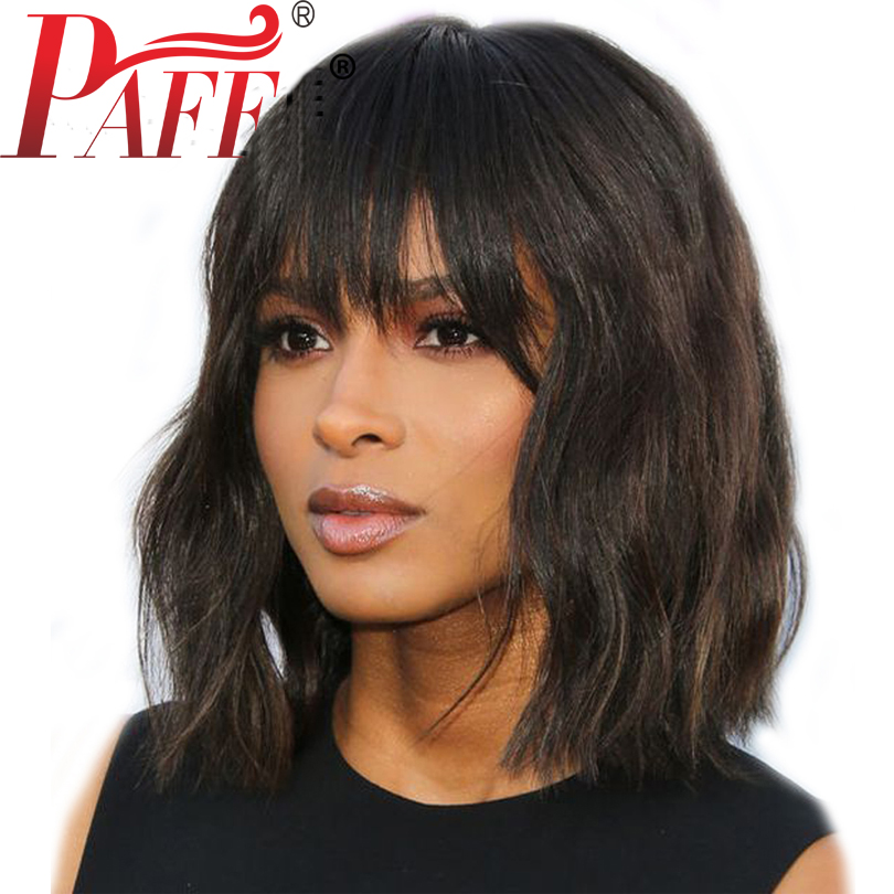 PAFF Short Human Hair Bob Wigs Glueless Lace Front Wigs Pre Plucked Loose Wave Remy Peruvain Hair With full Bangs bleached knot