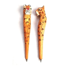 Creative Wood Carving Lift Leg Vertical Leg Leopard Ballpoint Pen Party  Favor Gift Office Stationery School