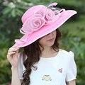 2017 Mujeres de La Vendimia de Paja Derby Iglesia Boda del Cóctel Del Partido playa Sombrero Fedora Boinas Gorra de Ala Ancha Flower Sun Dress Top