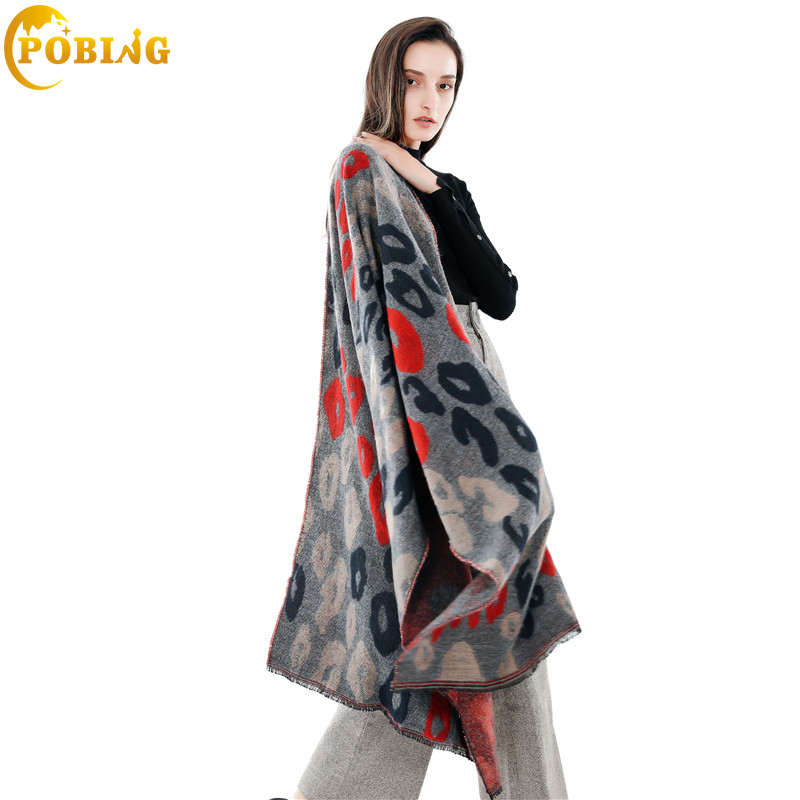 POBING Brand Winter   Scarf   Women Leopard Print Soft Cashmere   Scarves     Wraps   Basic Acrylic Wram Shawl Female Bufandas Blanket   Scarf