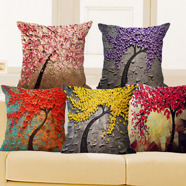 Cushion Cover Vintage Flower Pillow Case Mural Yellow Red Tree Wintersweet Cherry Blossom Home Decorative Throw