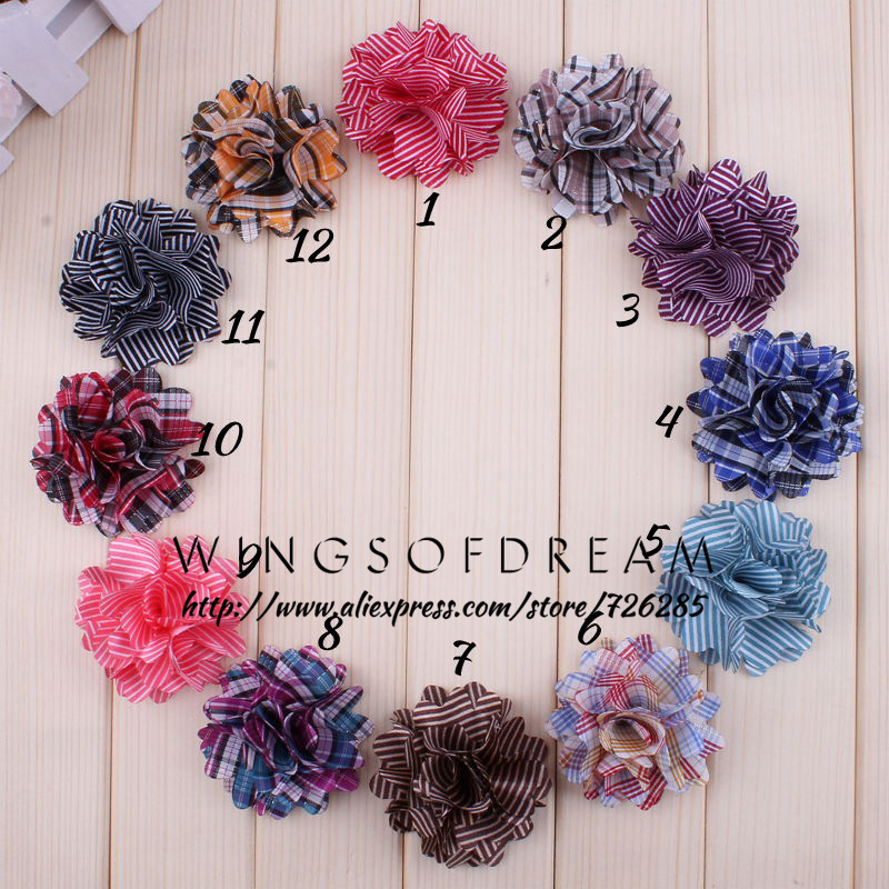 (30pcs/lot)2 12 Colors Classic Fabric Stripe Flower For Baby Gilrs Hair Accessory Lattice Layered Flowers For Headwear