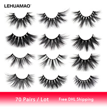 LEHUAMAO 25mm Eyelashes 3D Mink False Fluffy Long Crisscross Lashes Volume Cruelty Free Makeup Eyelash 70 Pairs