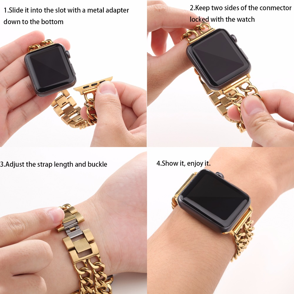 Joyozy Apple Watch Band Solid Stainless Steel Metal Apple Watch Strap Unique Polishing Process Business Replacement