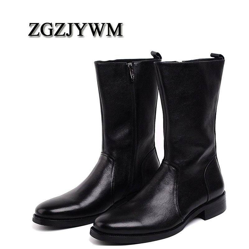 ZGZJYWM Новый Для Мужчин's Высокие сапоги из натуральной кожи высокие Мартин мужской обуви на молнии Армейские ботинки Delta Для мужчин ботинки че