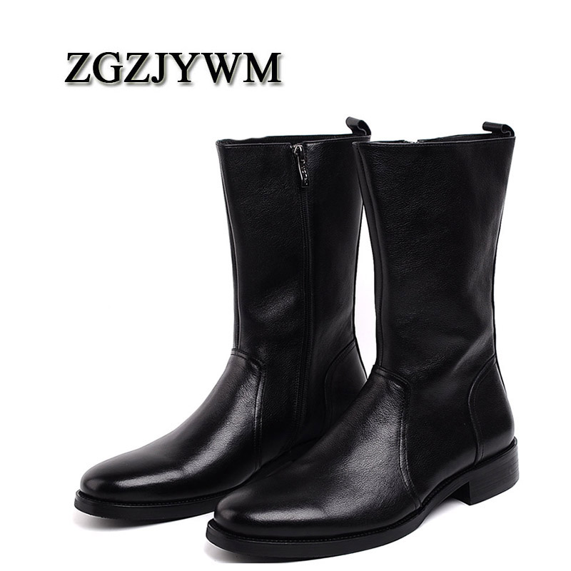 Men's Shoes Liberal Zgzjywm New Mens High Boots Genuine Leather High-leg Martin Male Shoes Zipper Design Tactical Boots Delta Men Black Boots For Fast Shipping