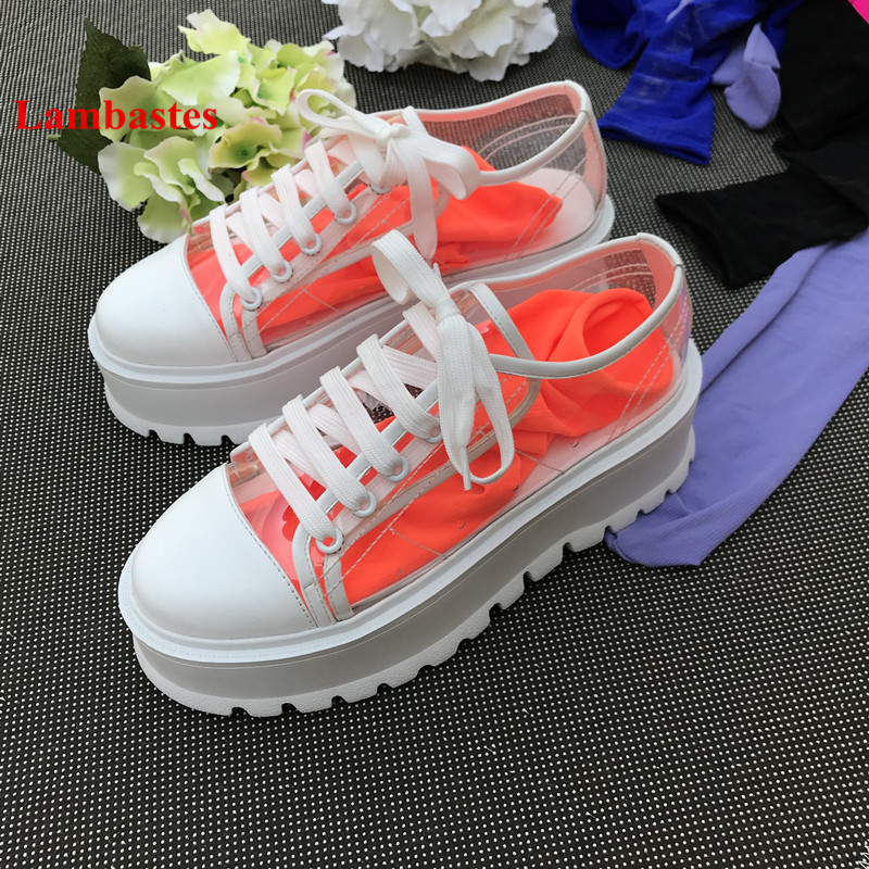 2018 Hot Spring Round Toe Shoes Women PVC Transparent Platform Designer Lace Up Women Pumps Shallow Cozy Casual Shoes Mujer winter women casual shoes 2018 hot red round toe lace up snake pattern fur women flats velvet platform shoes women zapatos mujer