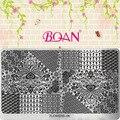 Serie de flores BQAN 1 Hoja de Hermosas Plumas de Pavo Real Nail Art Imagen Placas de Impresión Polaco FL06