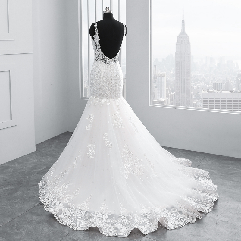 vestidos de novia 2019 Mermaid V Neck Sleeveless Backless Wedding Dresses abito da sposa suknia slubna brautkleider hochzeitsk