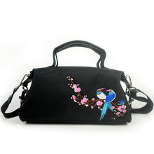 2019 new women's handbag messenger bag Chinese style flowers & birds & peacock feather embroidery lotus bag retro black shoulder цена и фото