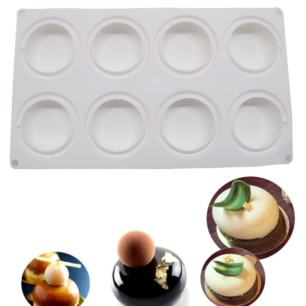 8 Cavities Silicone Baking Mold Mousse Cake Mould DIY Oblate Shaped Baking  Molds Best Price