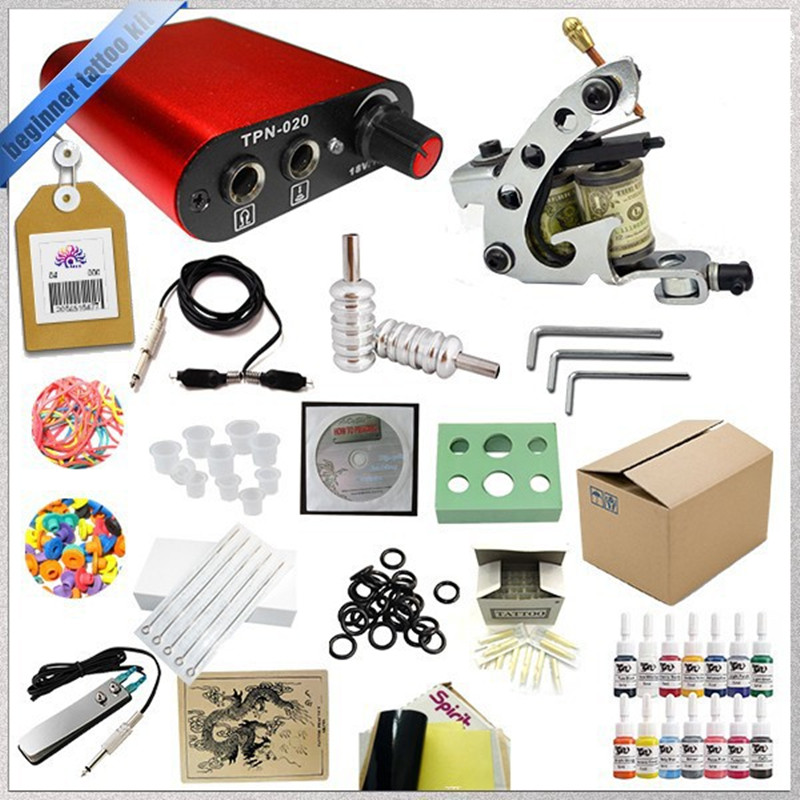 ФОТО Top Quality Complete Permanen Makeup Set 1 Mini Tattoo Machine Gun Power Suppy Machine Gun Needles Inks