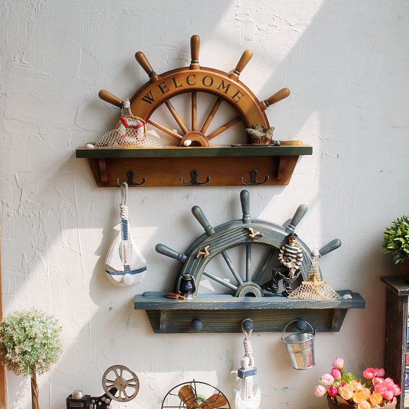 Creative Country Style Retro Rudder Helm Shaped Wooden Shelf Rack with 3 Hooks for Cafe Clothes Shop Wall Decor