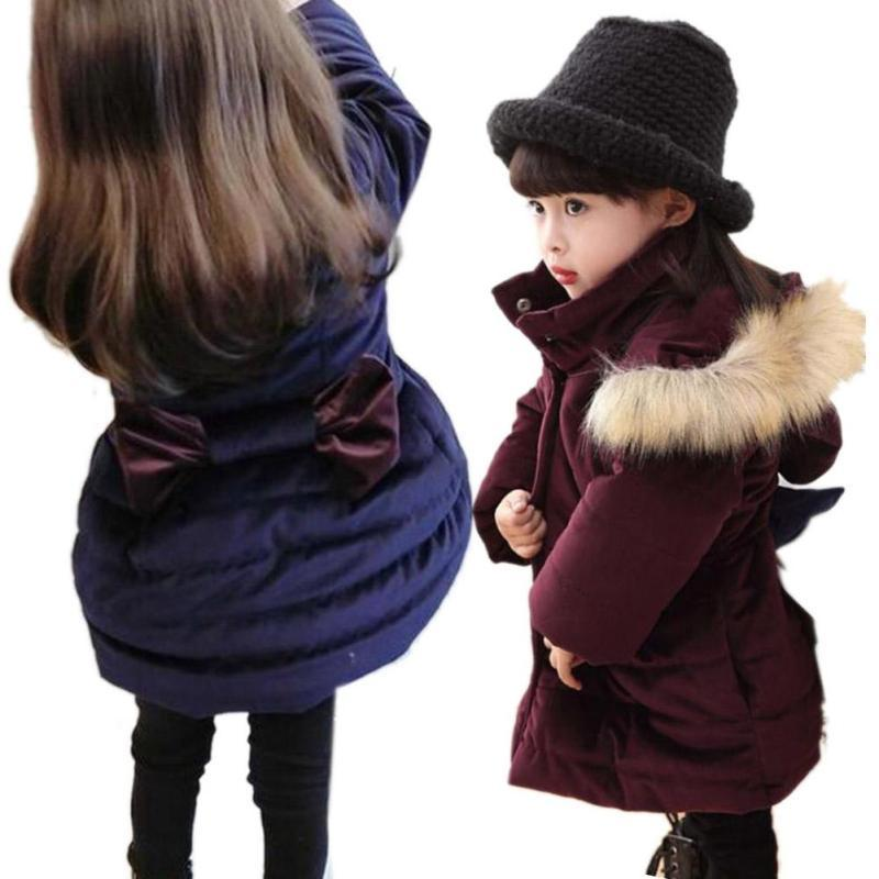 Fashion girls winter coat Thickening bowknot children coat for kids age 3-8 Girls Long Padded Jacket Hooded down outerwear D3 fashion children winter coat long down jacket for girl long parkas kids hooded color raccoon fur collar coat zipper outerwear