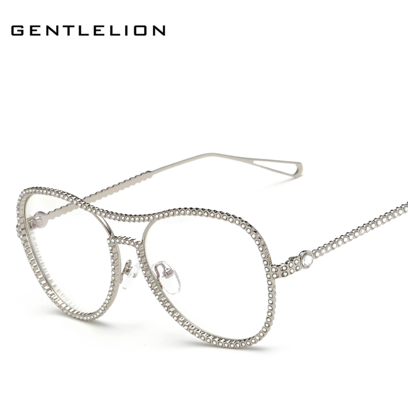 new fashion women crystal diamond eyeglass frame luxury brand designer alloy frame vintage shades 7007
