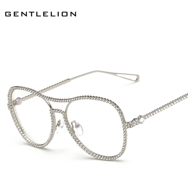 new fashion women crystal diamond eyeglass frame luxury brand designer alloy frame vintage shades 7007