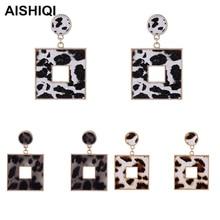 New Vintage Punk Indian Bohemian BOHO Korean Kpop Square Leopard Eardrop Statement Dangle Earrings for Women