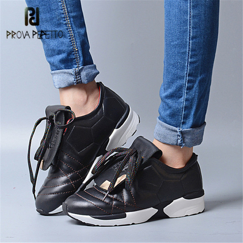 Prova Perfetto Genuine Leather Women Flat Shoes Lace Up Platform Sneakers Female Casual Loafers Ladies Shoes Creepers Tenis nayiduyun women genuine leather wedge high heel pumps platform creepers round toe slip on casual shoes boots wedge sneakers