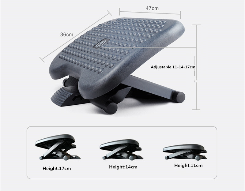 Under Desk Foot Rest & Adjustable Footrest - Ergonomic Footrest For Desk Office Foot Rest Under Desk With Foot Massager Black