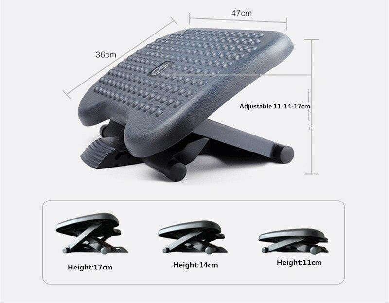 Under Desk Foot Rest & Adjustable Footrest - Ergonomic Footrest For Desk Office Foot Rest Under Desk With Foot Massager Black