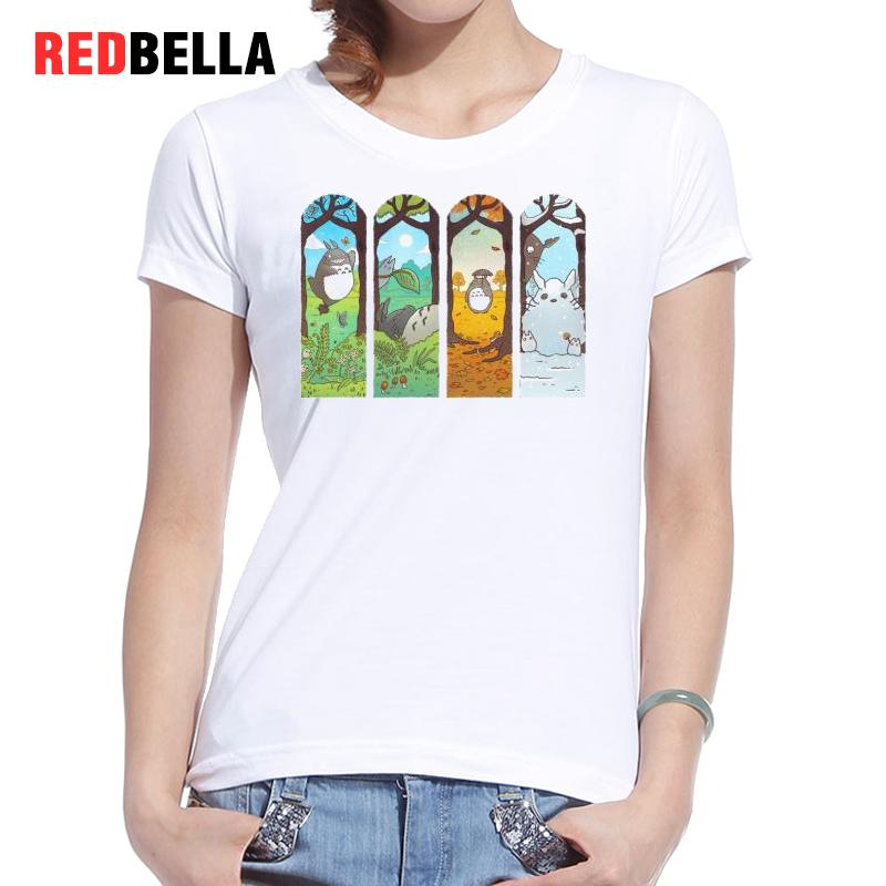 REDBELLA 2017 T shirt font b Women b font Kawaii Totoro Japanese Cartoon Four Seasons Beauty