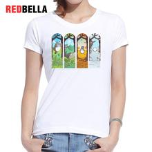 REDBELLA 2017 T-shirt Women Kawaii Totoro Japanese Cartoon Four Seasons Beauty Scene Harajuku Casual Printing Cotton Clothing