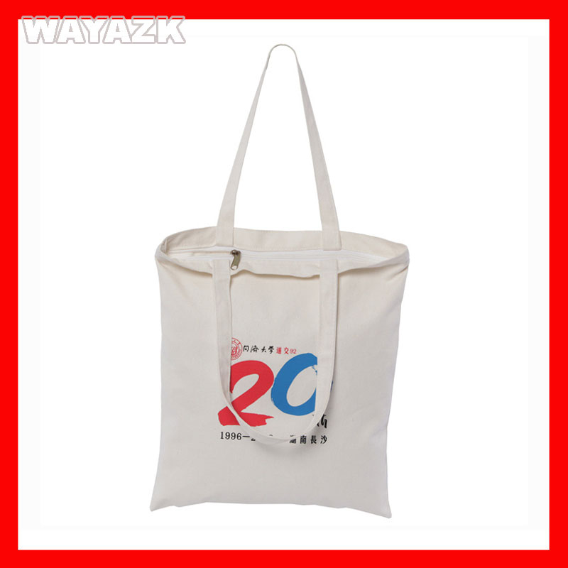 (500Pcs/Lot) Size 32X38x10cm(12.8X15.2X4&Quot;) Custom Logo Canvas Cotton Shopping Tote Bag With Zipper