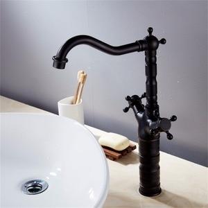 Image 2 - 新スタイルのレトロなホットとコールド蛇口黒くキッチンスイベル真鍮デザイナー蛇口シンク洗面器ミキサータップ B3214