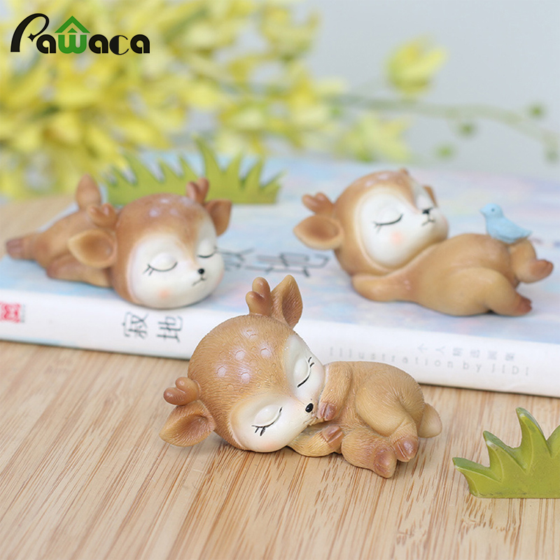 Sleeping Baby Deer Statue Mini 3D Deer Figurine Resin Crafts Art Decor For Home Garden Car Table Decoration Ornament Kids Gift
