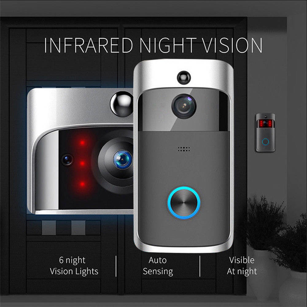 Wireless Video Doorbell Camera WiFi Video Doorbell 720P Home Security Camera Real-Time Two-Way Audio Night Vision PIR Motion
