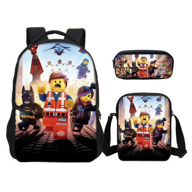 Lego 3 Set Kids Cartoon School Backpack For Boys Backpacks Lego Ninjago  Pattern School Pen Shoulder 33f605fba6e5b