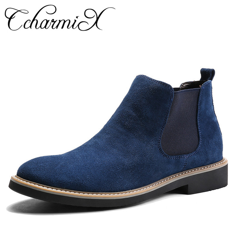 CcharmiX Men Chelsea Boots Slip On Suede High Top Classic Men Boots Genuine Leather Chukka Ankle Boots Fashion Cowboy Male Boots suede