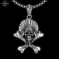 LESIEM NOVO!! estilo punk masculino de aço inoxidável colares cadeia cabeça Do Crânio Do osso Do Punk homens jóias kolye Personalizado